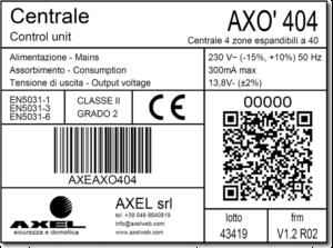 Fac simile etichetta presente nelle centrali AXEL