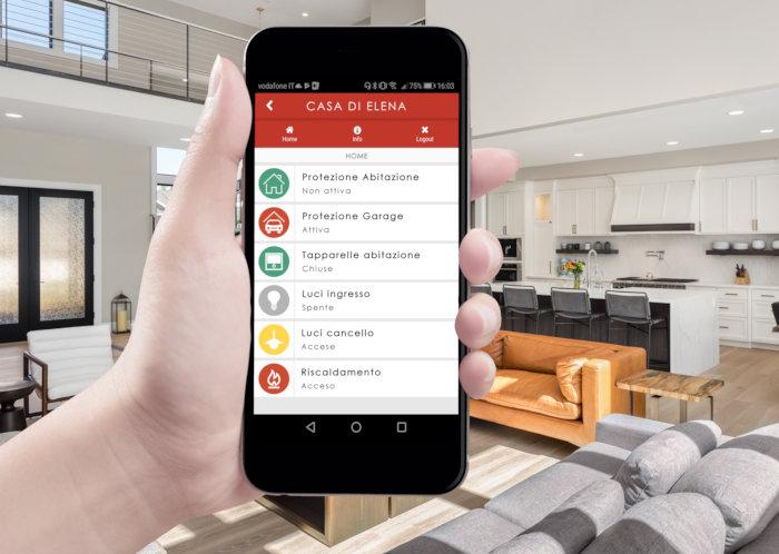 schermata app axel cloud per il controllo remoto dell'impianto di sicurezza